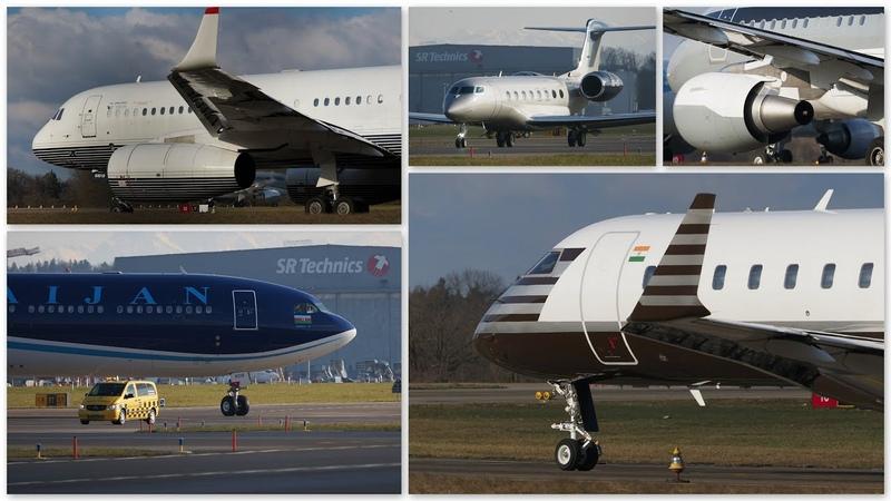 Zurich Airport 20 01 2020 WEF Traffic Airbus Bombardier Dassault Gulfstream Tupolev