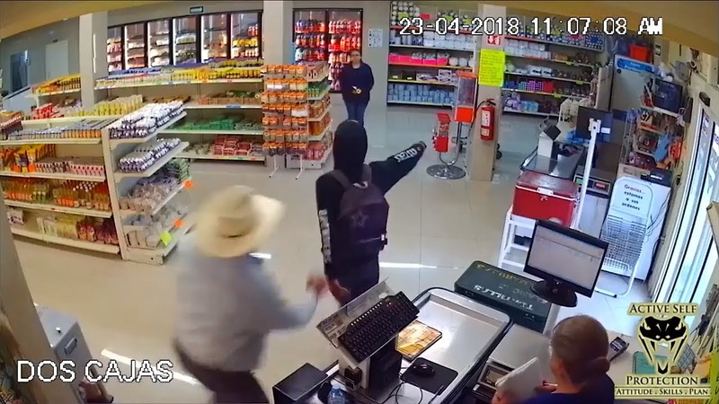 Robber Overwhelmed by Prepared Defender Active Self Protection