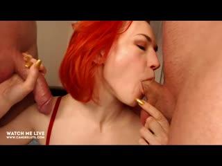 Redhead wife double deepthroat (amateur, blowjob, porn, threesome, hardcore, toys, cum, swallow, домашнее, мжм, минет, рыжая)