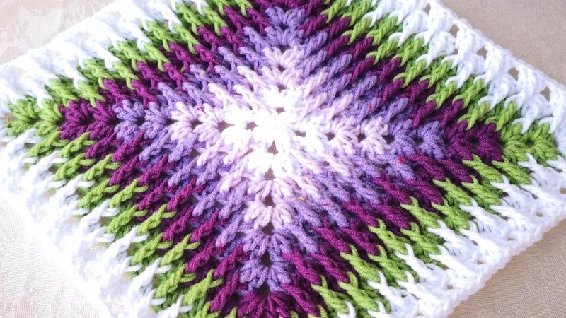 Tığ ile Mozaik Motif Battaniye Yapımı Crochet Mosaic Granny Square 8