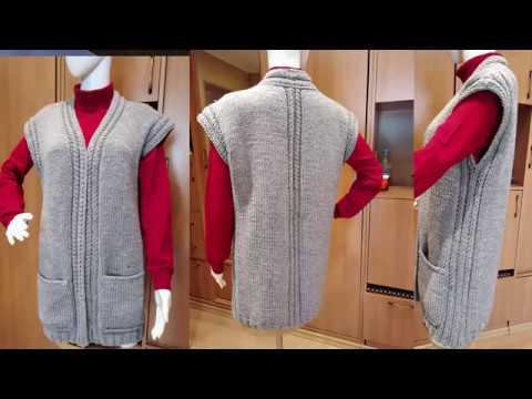 Тёплый уютный и очень простой жилет спицами с карманами и обвязкой крючком