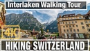 4K City Walks Interlaken Switzerland Morning Walk Virtual Walk Walking Treadmill Video