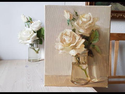 Белые розы Видеоурок по живописи