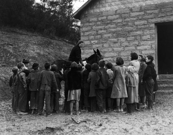 Служба конных библиотекарей. В 1930-х в Америке можно было увидеть женщин-всадников на лошадях, разъезжавших с большими сумками. Их называли книжными женщинами, так как они посвящали свое время
