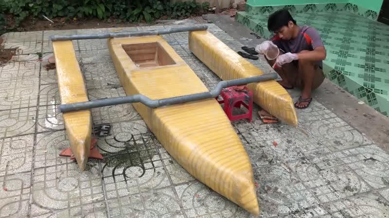 Chế thuyền sử dụng 6 Motor 775 tốc độ 20Km h Thuyền 3 thân từ xốp đơn giản