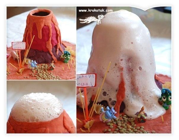 ИЗВЕРЖЕНИЕ ДОМАШНЕГО ВУЛКАНА (от 4-х лет) В домашних условиях вулкан лепят из пластилина (либо облепляют им бутылочку от йогурта). Для вулкана размером со стакан вам понадобится столовая ложка