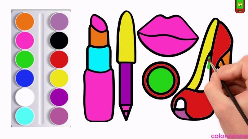 Come disegnare il trucco per scarpe per bambini Pagina da colorare