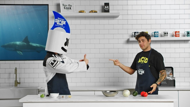 How Jauz Celebrates Taco Tuesday During Shark Week Cooking with Marshmello Lion Fish Tacos