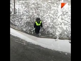 На Уктусе мальчик в костюме гаишника жезлом пытался остановить машины 