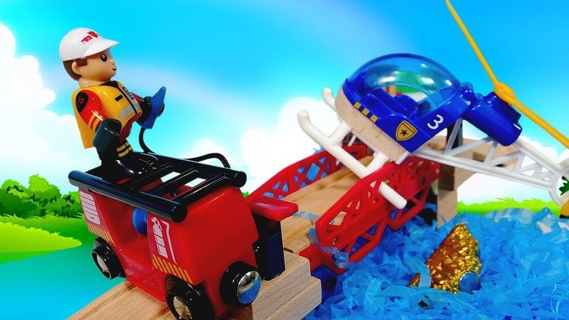 O piloto de helicóptero está levando uma carga de ouro! História para crianças com brinquedos