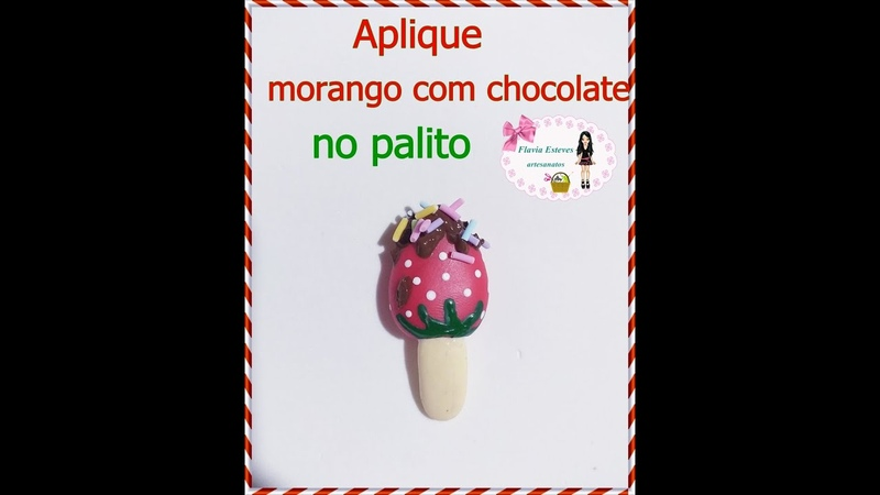 Aplique morango com chocolate de biscuit