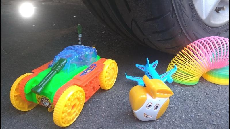 EXPERIMENT Автомобиль против ТАНКА машина давит предметы