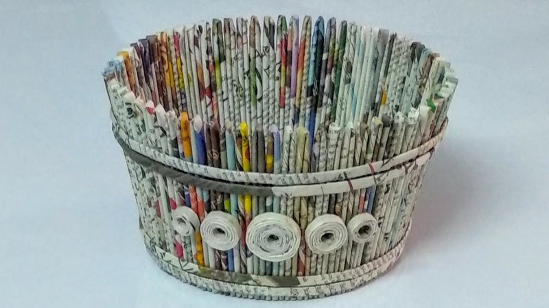How to make a newspaper basket DIY newspaper craft