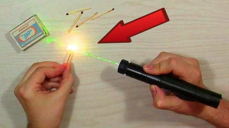 Супер Лазер с AliExpress Поджигает спички и прожигает резину Светит на 3 км