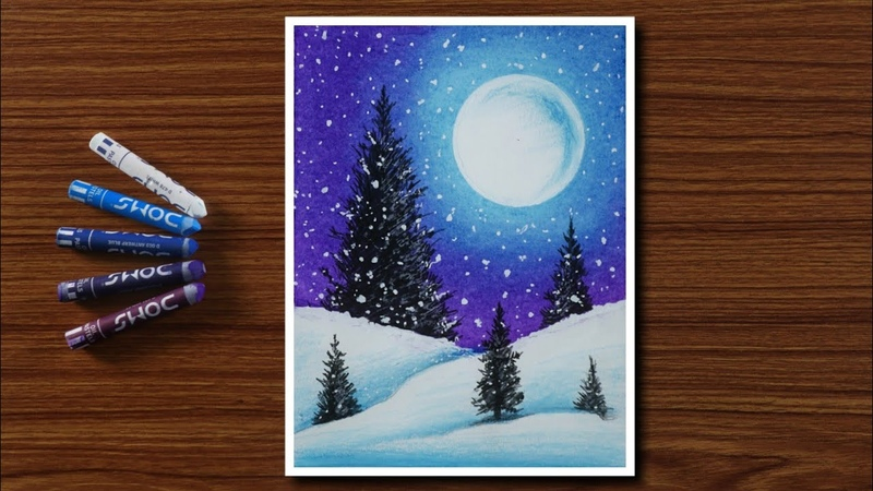 Easy Winter Snowfall Scenery Drawing for Beginners with Oil Pastels - Step by Step