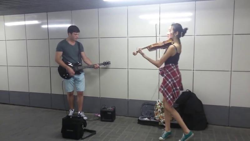 Скрипка и гитара в переходе Skillet Comatose Новосибирск Речной вокзал