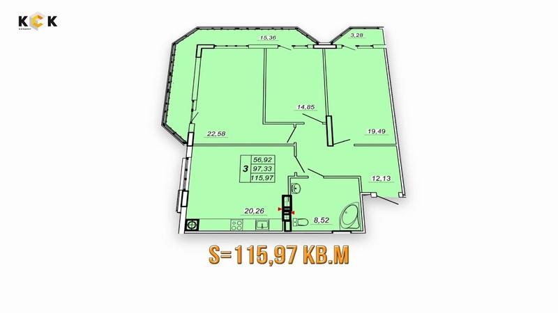 ЖК НАУМОВА 3. Планировка 3-комнатной квартиры S=115.97 кв.м