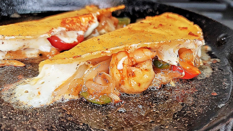 SHRIMP QUESA TACOS Cheesy Crispy Shrimp Tacos TAJIN LIME Butter Sauce