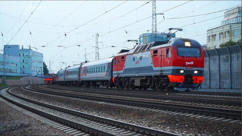 4 поезда в одном видео