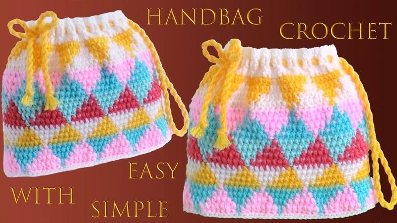 Bolso a Crochet paso a paso Punto triángulos colores arcoíris tejido a gancho tallermanualperu