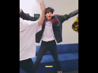 jin having the time of his life while dancing to happy and im here for it