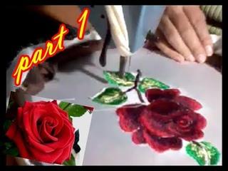 red rose embroidery / الورد البلدي #الطرز الرباطي