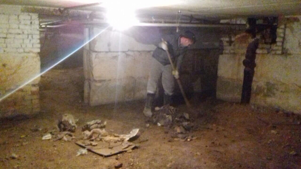 Улица Менделеева дом 7 чистка подвала от