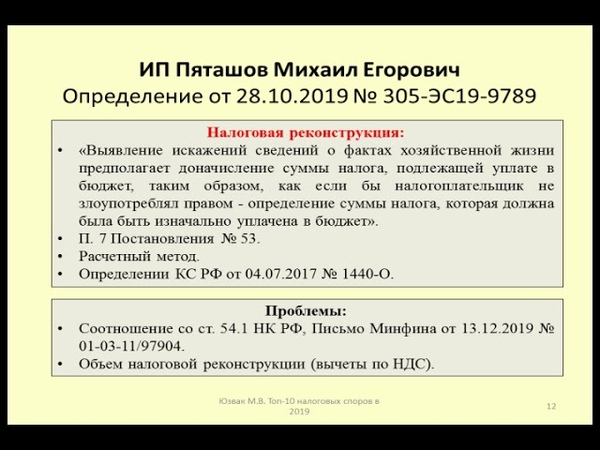 Право недобросовестного налогоплательщика на налоговую реконструкцию Дело ИП Пяташов tax dispute