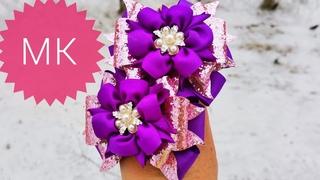 🎀Нарядные банты канзаши из репсовых лент и кожзама.🎀🎀Dressing kanzashi bows made of rep ribbons.