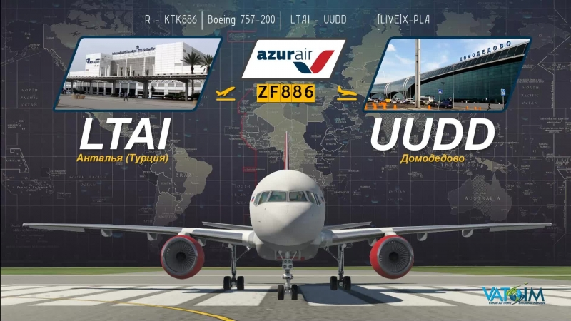 LIVE X PLANE 11 VATSIM AZUR AIR KTK886 Boeing 757 200 LTAI UUDD