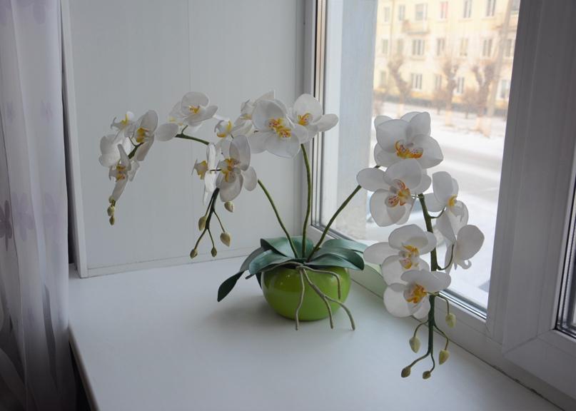 Орхидея из фоамирана, которую смастерила Оксана