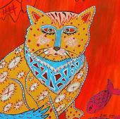 """Картина """"Разноцветная кошка"""", 2016 г."""