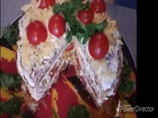 Кабачково-куринный тортик