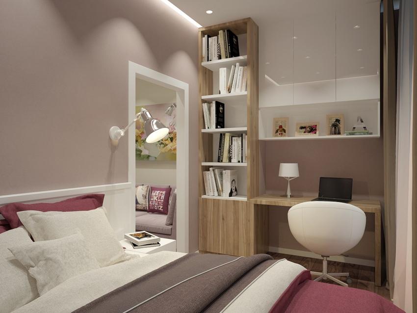 Проект квартиры 27,5 м (с лоджией – 30,7 м) с проходной кухней-гостиной и маленькой отдельной спальней у окна.