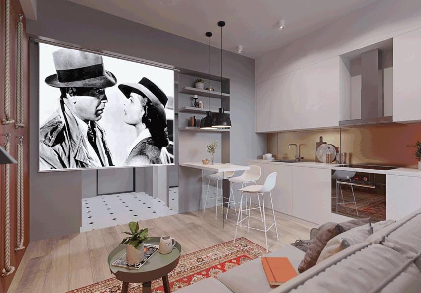 Проект квартиры-студии 31 м для молодой пары.