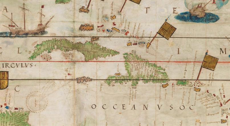 Карибские острова. Фрагмент из карты Атлантики в Атласе Миллера (1519)