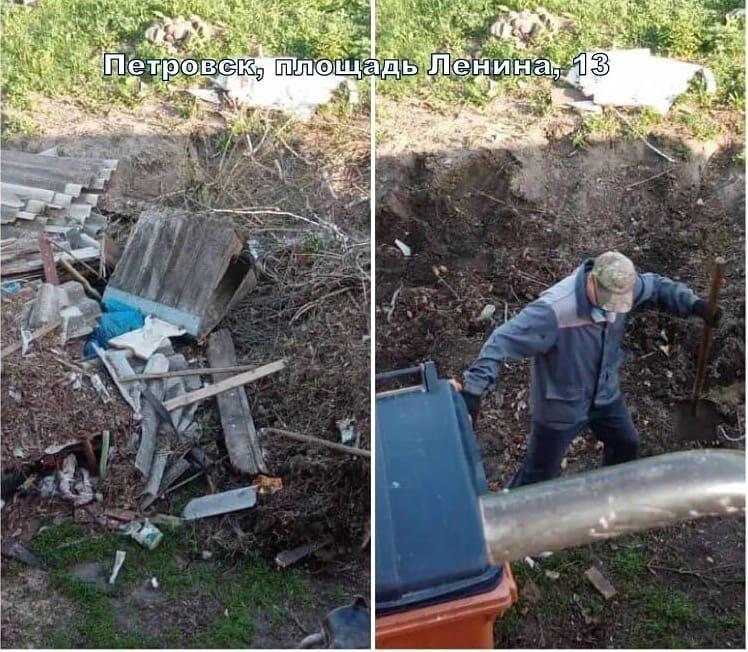 В Петровске продолжается ликвидация стихийных свалок около мусорных контейнеров, установленных на городских улицах