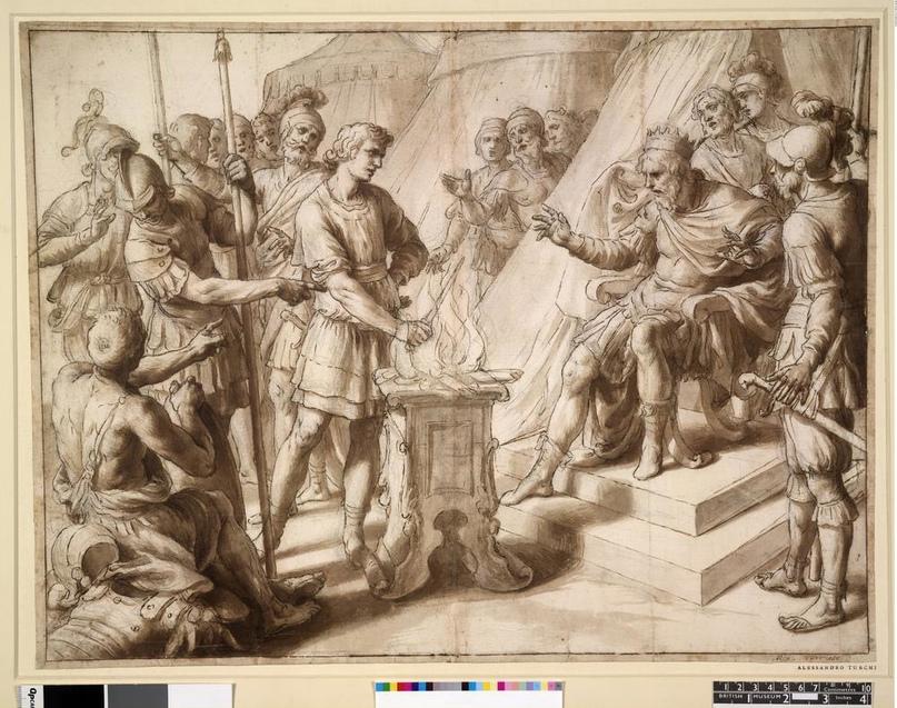 Рисунок 1595–1651г Муций Сцевола жертвует свою правую руку перед Ларсом Посеной