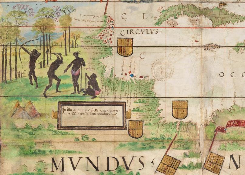 Северо-восточное побережье Южной Америки. Фрагмент из карты Атлантики в Атласе Миллера (1519)