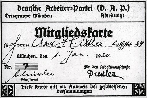 """Карточка членства """"Немецкой рабочей партии"""" (Deutsche Arbeiterpartei). Источник: Национал-социализм"""