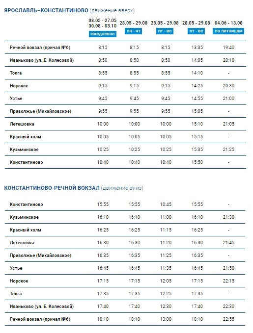 Расписание речных трамвайчиков в Ярославле