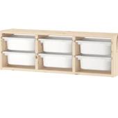 Настенный модуль для хранения, светлая беленая сосна, белый, 93x21x30 см