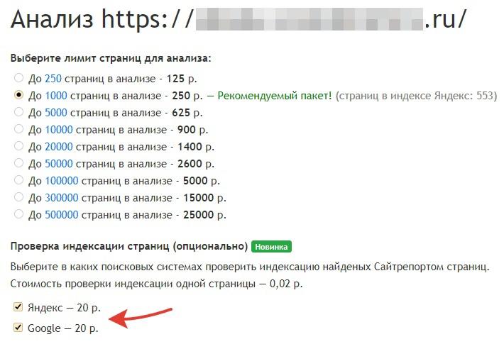 Опции проверки индексации при запуске аудита в Сайтрепорте
