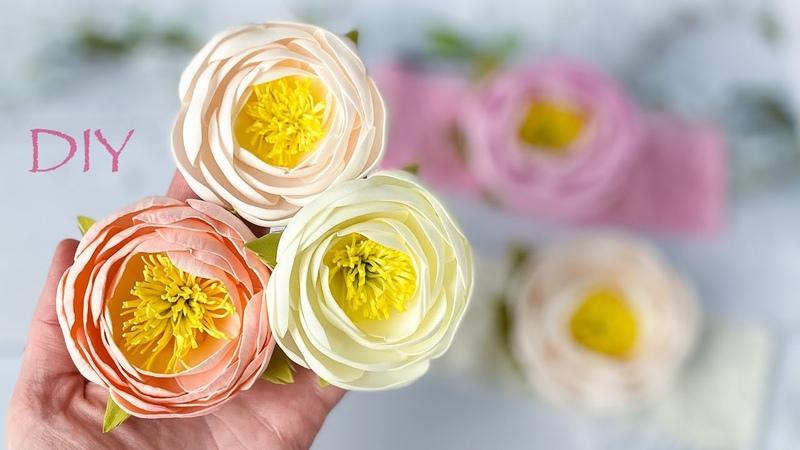 Только фоамиран и утюг! Цветы из Фоамирана Пион на повязку DIY Foam Sheet Flowers Flores de Foamy