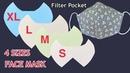 Diy Face Mask Trending Pattern (Size S M L XL) Easy To Make Mask With Filter Pocket Sewing Tutorial
