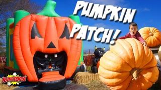 Halloween Giant Pumpkin Eats Kids! Landon Toy Review visits Pumpkin Patch