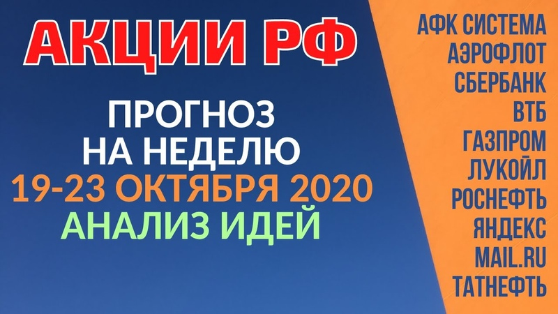 АКЦИИ РФ Анализ и прогноз на 19 23 10 Аэрофлот Сбербанк ВТБ Яндекс Татнефть Лукойл