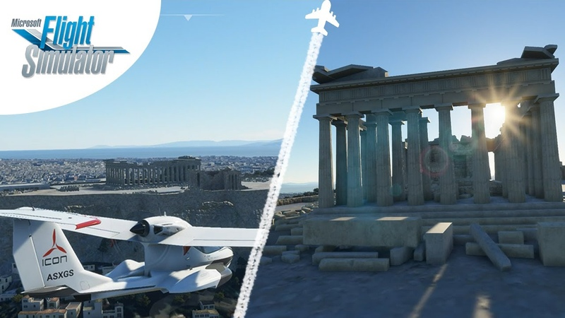 ✈️ Microsoft Flight Simulator 2020 Acropolis of Athens Amphitheate dron footage ATH